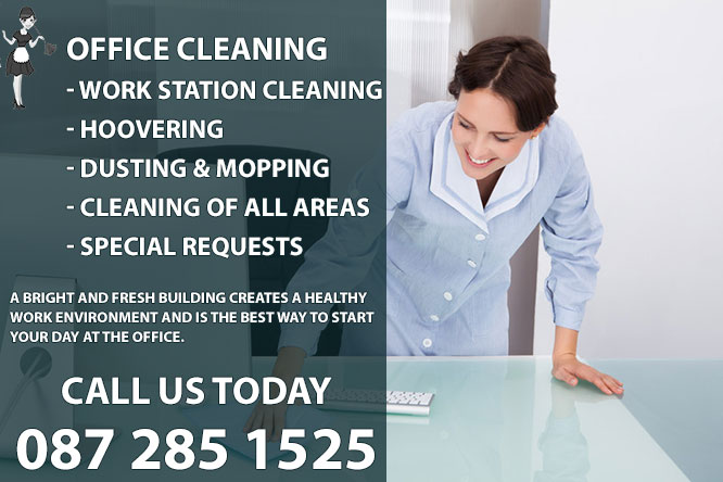 Office Cleaning Service - A.G. Cleaning Services. We offer the full range of services that you would expect from the premier office cleaning company in North Dublin. Some of the services we provide include: Daily office cleaning, common parts cleaning, Office and retail premises cleaning, Cleaning of windows, curtains and Venetian blinds, Computer hardware and telephone cleaning, Carpet and upholstery cleaning, Refuse collection and disposal, Deep cleaning of kitchens and washrooms, Janitorial product supply and management. Call us today on 0872851525