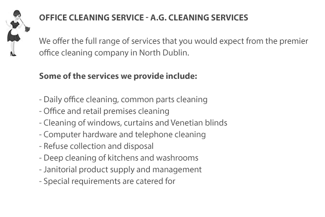 Office Cleaning Service in North Dublin including Swords, Donabate, Malahide and Portmarnock